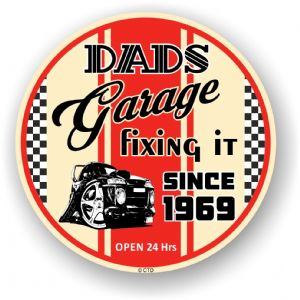 Dad's Garage Roundel Design Year Dated 1969 Vinyl Car Sticker Decal 95x95mm